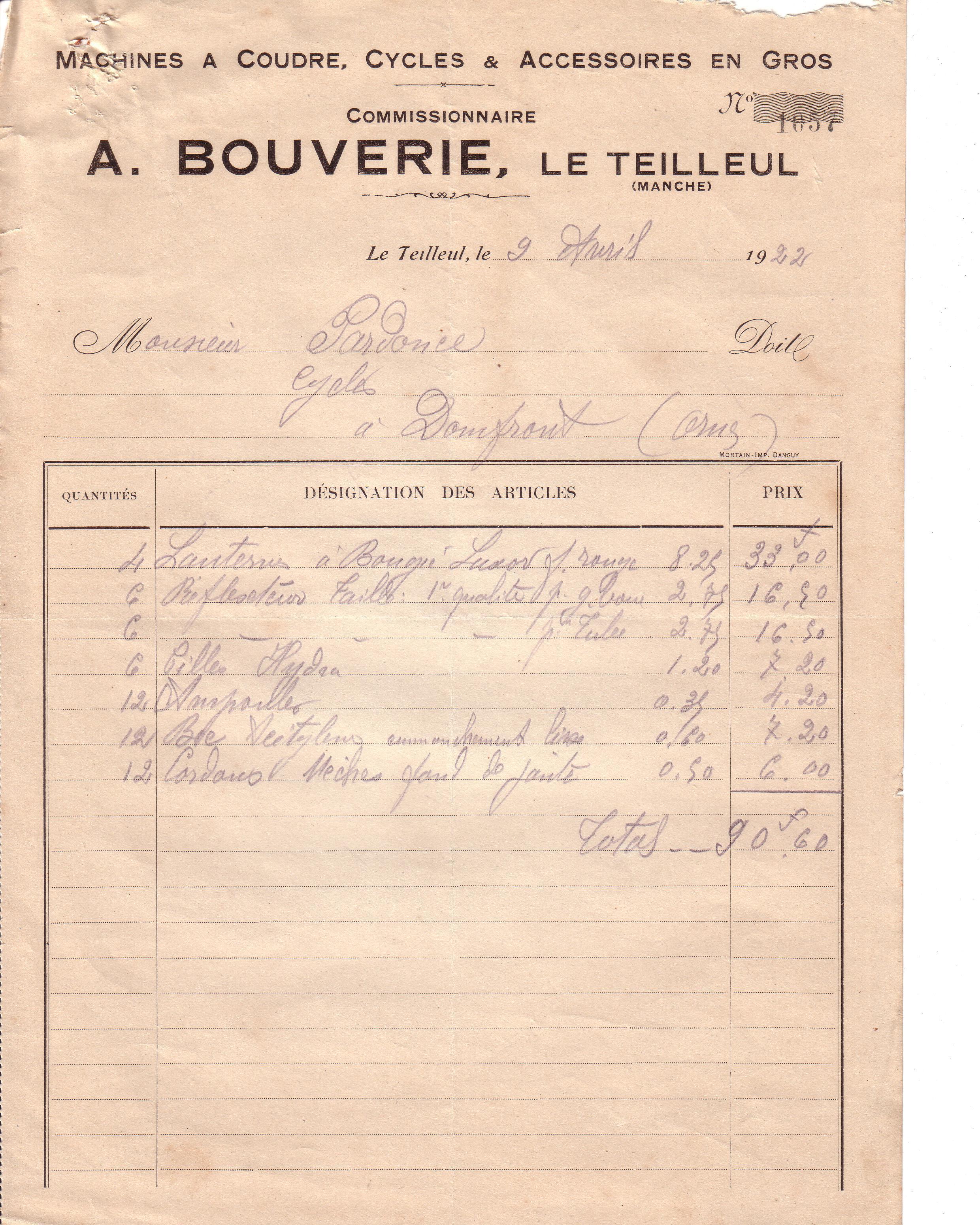 1922 : l'acétylène dans Vie de Lucien 1