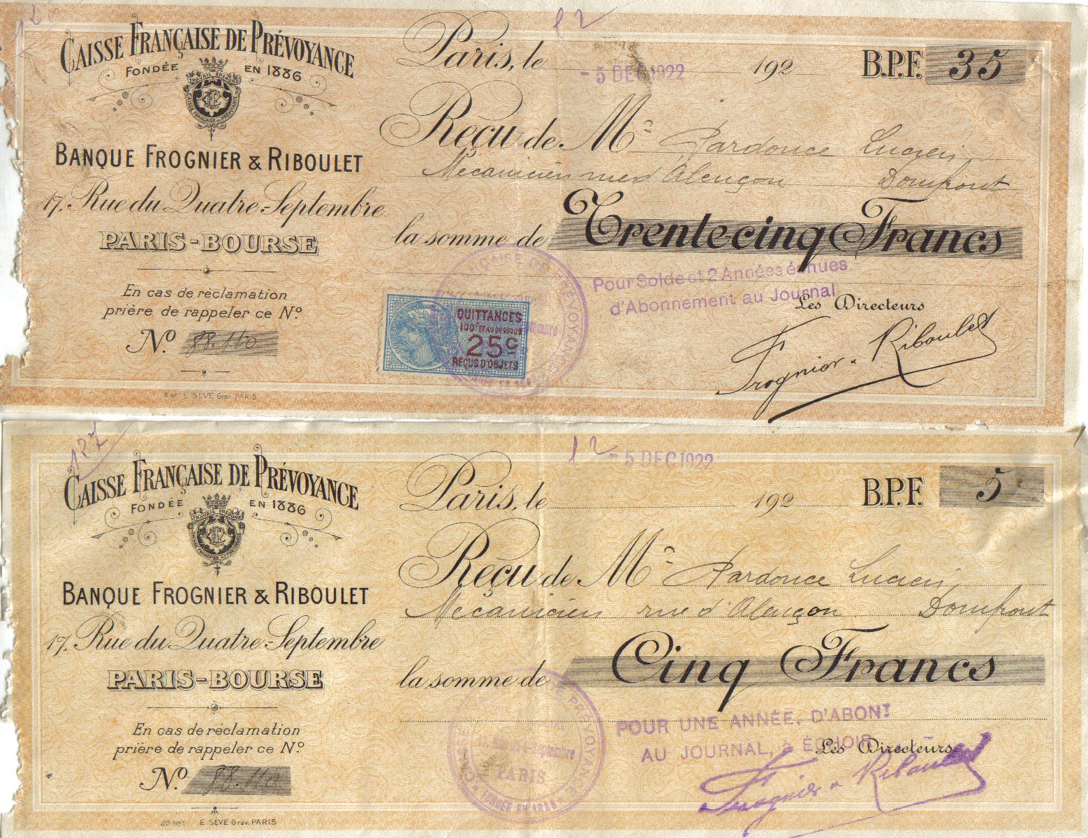 1922 : Caisse de Prévoyance  dans Miscellanees 7c2050aa