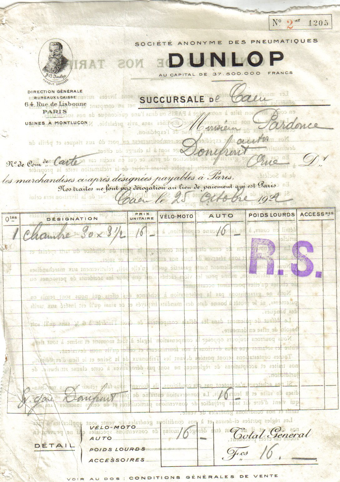 1922 : Dunlop dans Vie de Lucien dunlop