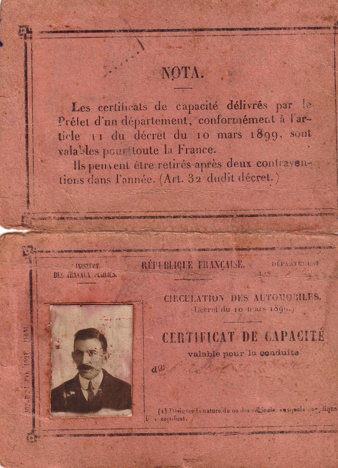1922 : certificat de capacité pour la conduite dans Vie de Lucien permis-lucien1