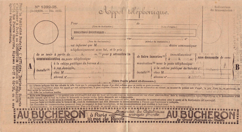 1922 : convocation téléphonique dans Vie de Lucien telephone