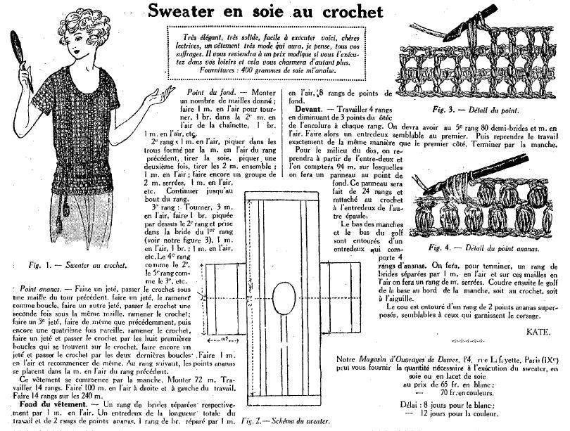 1922 : Les dimanches de la femme dans Miscellanees sweater-en-soie
