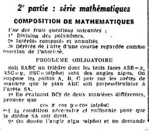 1923 : épreuve du baccalauréat  dans Miscellanees mathematique-2bac-30-06-1923-oe-copie-300x264
